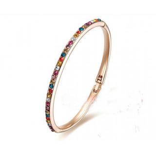Тонкий позолоченный браслет с разноцветными Swarovski