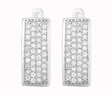Серебряные прямоугольные серьги