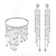 Вечірній комплект дощ з браслетом і сережками