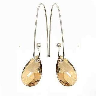 Серебряные серьги с медовыми Swarovski в виде капли