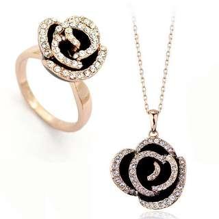 Комплект черные розы с камнями Swarovski