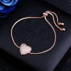 Позолоченный браслет Сердце с кубическим цирконием