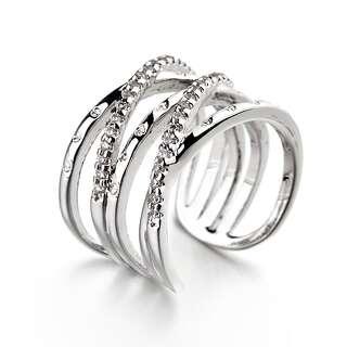 Открытое белое кольцо плетение