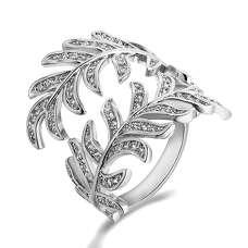 Массивное кольцо перо белое