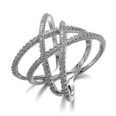 Белое кольцо плетение с камнями