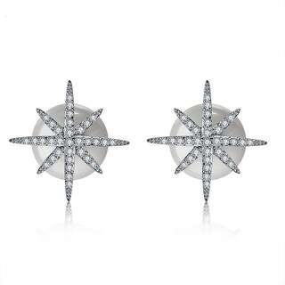 Серьги звезды с застежкой в виде жемчужной пусеты